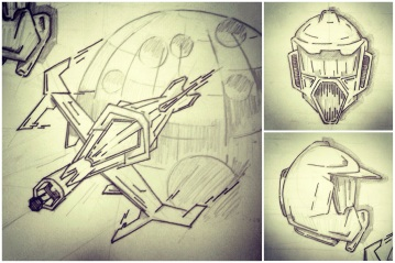 ALG Concept Sketches - The SpaceShips A_00 Series : Visual 2D and 3D Development of a Comic Space Battle Mission by ALG [Teaser Shots] img_008