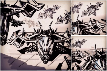 ALG Concept Sketches - The SpaceShips A_00 Series : Visual 2D and 3D Development of a Comic Space Battle Mission by ALG [Teaser Shots] img_019